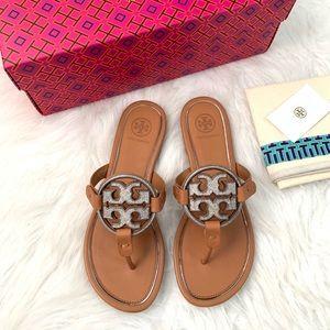 NIB Tory Burch Metal Miller Embellished Sandals